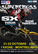 Share And Move solutions communication (affiche, flyer, magazine, site internet) pour le supercross SX tour à l'axone de Montbéliard